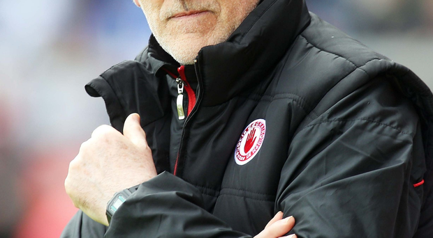 Far from happy: Mickey Harte was disappointed with Tyrone's defence