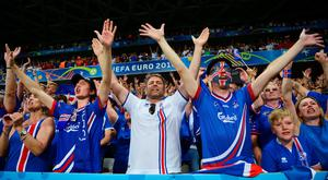 NICE, FRANCE - JUNE 27: Iceland supporters celebrate their team's 2-1 win in the EURO 2016 round of 16 match between England and Iceland at Allianz Riviera Stadium on June 27, 2016 in Nice, France. (Photo by Dan Mullan/Getty Images)