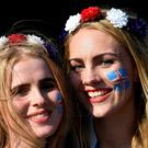 Iceland fans pose for photographs on their way to the stadium prior to the UEFA EURO 2016 round of 16 match between England and Iceland at Allianz Riviera Stadium on June 27, 2016 in Nice, France. (Photo by Laurence Griffiths/Getty Images)
