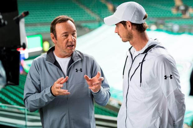 Usual suspects: Kevin Spacey in discussion with Andy Murray at Wimbledon