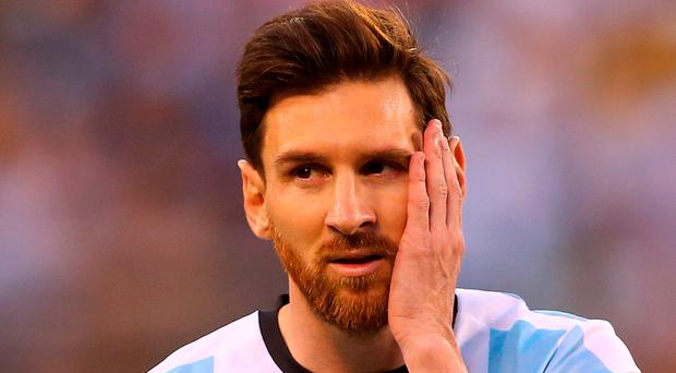 Lionel Messi of Argentina looks on against Chile during the Copa America Centenario Championship match at MetLife Stadium on June 26, 2016 in East Rutherford, New Jersey.