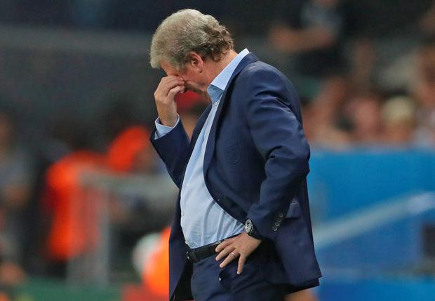Roy Hodgson on the touchline in his last match as England manager