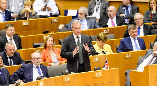 Handout photo issued by the EU of Nigel Farage speaking at the European Parliament in Brussels, Belgium, during an emergency session to discuss the fallout from the Brexit vote. Dominique Hommel/European Union/PA Wire