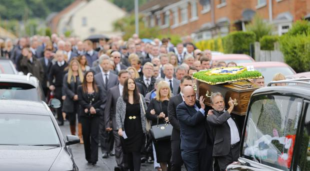 The funeral of Northern Ireland fan Robert (Archie) Rainey who died while at a Euro game takes place from his home in North Belfast ( Photo by Kevin Scott / Belfast Telegraph)