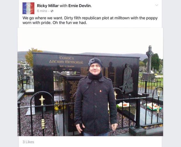 Ricky Millar at a republican memorial in Milltown cemetery.