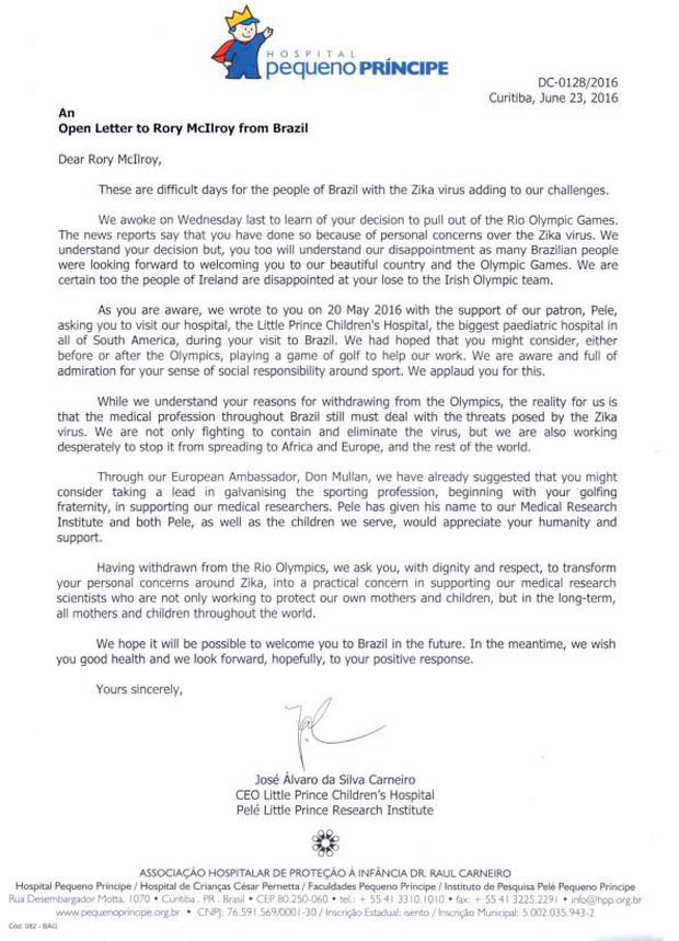 The Little Prince Children's Hospital's letter to Rory McIlroy.