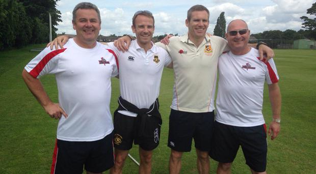 Reunion: Former Ireland internationals Andrew and Mark Patterson are flanked by Derek Heasley and Uel Graham, the coaches of the NCU Under-17s on their tour to England, which will take in a 50-over game and four T20 matches