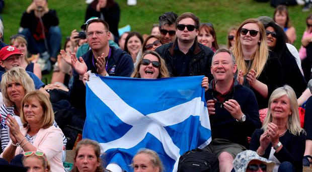 Scots support: Andy Murray had plenty of followers watching on Henman Hill