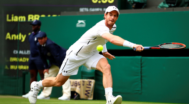 Job done: Andy Murray on the way to victory over Liam Broady at Wimbledon yesterday
