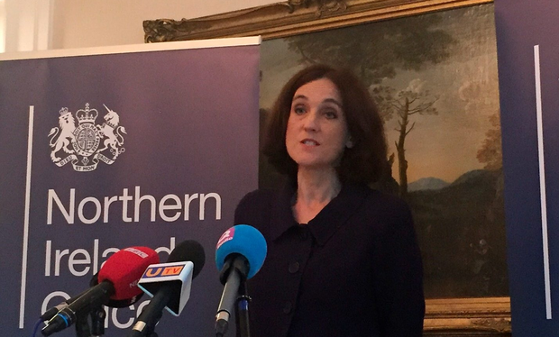 Northern Ireland Secretary Theresa Villiers speaking at Stormont House, Belfast, where she insisted that Scotland and Northern Ireland will not be able to attain special EU status in the wake of Brexit. PA