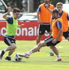 Big stage: Paul Smyth and Northern Ireland ace Niall McGinn during Euro 2016 training at Parc de Montchervet in St Georges de Reneins, France