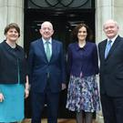 Secretary of State Theressa Villiers met with Irish Foreign Affairs Minister Charlie Flanagan, First Minister Arlene Foster and Deputy First Minister Martin McGuinness at the review meeting of the implementation of the Fresh Start agreement earlier this afternoon at Stormont House