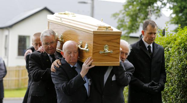 The funeral of boxer Freddie Gilroy takes place at Holycross Church in Belfast, Northern Ireland on June 30 2016 ( Photo by Kevin Scott )