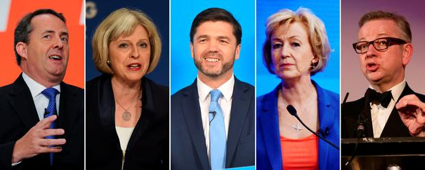 Those who have announced that they will stand for election as leader of the Conservative Party after the resignation last week of the Prime Minster, from left: Liam Fox, Theresa May, Stephen Crabb, Andrea Leadsom and Michael Gove. Pic: /PA Wire