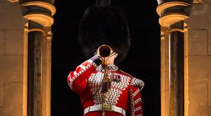 Lance Sergeant Stuart Laing from the Welsh Guards rehearses the Last Post on a bugle that was sounded at the Battle of the Somme at Westminster Abbey on June 30, 2016 in London, England. The bugle will be played from the Lantern Tower at Westminster Abbey during a service on the eve of the Battle of the Somme centenary attended by the Queen. The bugle is kept at the Welsh Guards Regimental HQ at Wellington Barracks in London and was used daily along the reserve line as an efficient way of communicating orders. (Photo by Jack Taylor/Getty Images)