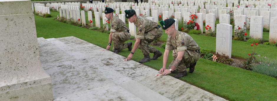 Soldiers of the Royal Irish Regiment take part in the Act of Remembrance this morning at Connaught Cemetery, France, beside the Ulster Tower, to mark the time the first soldiers went 'over the top' at the battle of the Somme 150 years ago. Photo by Aaron McCracken/Harrisons