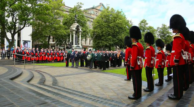 100th anniversary of the Battle of the Somme when men from the 36th (Ulster) division and the 16th (Irish) division lost their lives. This was commemorated in Belfast with the traditional wreath-laying at the Cenotaph led by Lord Mayor, Alderman Brian Kingston on July 01 2016 ( Photo by Kevin Scott )