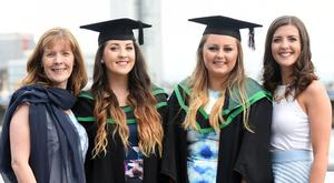 Graduating from Ulster University today are Rosie Ervine, Katie Ervine , Lauren Mc Cann, Newcastle, Amy Irvine, Bangor pic by Harrison Photography