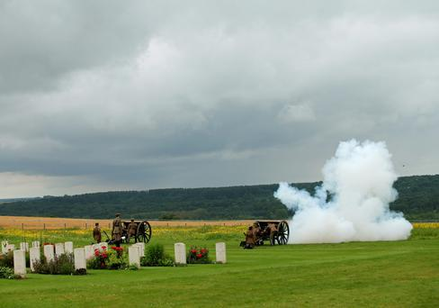 A gun salute during the Commemoration of the Centenary of the Battle of the Somme at the Commonwealth War Graves Commission Thiepval Memoria on July 1, 2016 in Thiepval, France. (Photo bt Yui Mok - Pool/Getty Images)