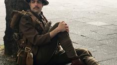 A man dressed as a First World War soldier in Walthamstow, London, to mark 100 years since the start of the Battle of the Somme. PRESS ASSOCIATION Photo. Picture date: Friday July 1, 2016. The imitation soldiers surprised onlookers by stopping to pose and sing wartime songs, and when not singing, the men remained silent, handing out cards with names of those who had died to members of the public. See PA story HERITAGE Somme Tributes. Photo credit should read: Nitya Kanoria/PA Wire