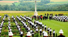 THIEPVAL, FRANCE - JULY 1: A view of the wreath laying ceremony during the Commemoration of the Centenary of the Battle of the Somme at the Commonwealth War Graves Commission Thiepval Memorial on July 1, 2016 in Thiepval, France. The event is part of the Commemoration of the Centenary of the Battle of the Somme at the Commonwealth War Graves Commission Thiepval Memorial on July 1, 2016 in Thiepval, France. where 70,000 British and Commonwealth soldiers with no known grave are commemorated. (Photo by Chris Radburn - Pool/Getty Images)