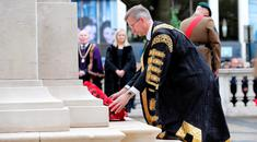 Press Eye handout photo of Belfast Lord Mayor, Alderman Brian Kingston taking part in a wreath-laying ceremony at the Cenotaph in the grounds of Belfast City Hall to commemorate the 100th anniversary of the Battle of he Somme. PRESS ASSOCIATION Photo. Picture date: Friday July 1, 2016. See PA story HERITAGE Somme. Photo credit should read: Kelvin Boyes/Press Eye/PA Wire NOTE TO EDITORS: This handout photo may only be used in for editorial reporting purposes for the contemporaneous illustration of events, things or the people in the image or facts mentioned in the caption. Reuse of the picture may require further permission from the copyright holder.