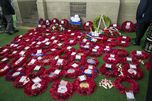 Pictured wreaths laid after the service at the Ulster Tower, Thiepval, France Credit: Liam McBurney/RAZORPIX