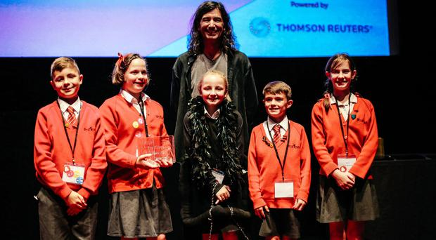 Children from Coleridge Primary School who won the People's Choice Award for Changes at the Apps for Good competition