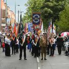 Pacemaker press 01/07/2016 East Belfast host's The Battle of the Somme aniversary parade. Bands from around Northern Ireland and Scotland take part in the Battle of the Somme anniversary parade. The bands marched around the winding streets of East Belfast and past the nationalist markets area which was heavily policed. Picture Mark marlow/pacemaker press