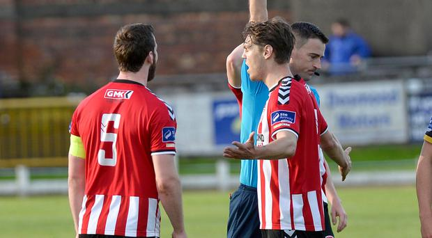 Seeing red: Derry City captain Ryan McBride gets his marching orders