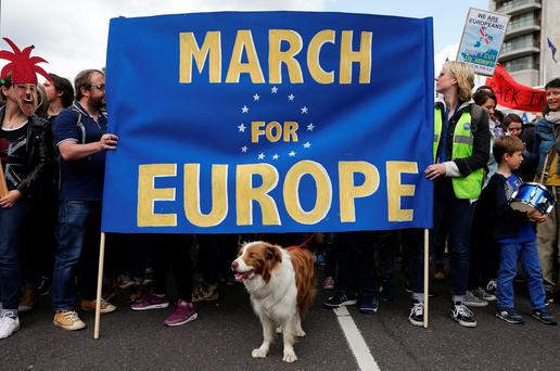 Remain supporters gather on Park Lane in London, before marching to Parliament Square to show their support for the European Union in the wake of Brexit. PA