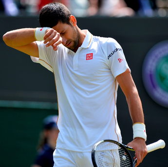 Under pressure: Novak Djokovic looked out-of-sorts at Wimbledon