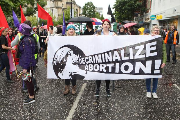 2/7/16 PACEMAKER PRESS A pro abortion rally took place in Belfast City Centre starting from Donegal Street making its way through the City Centre. Matt Bohill PACEMAKER PRESS.