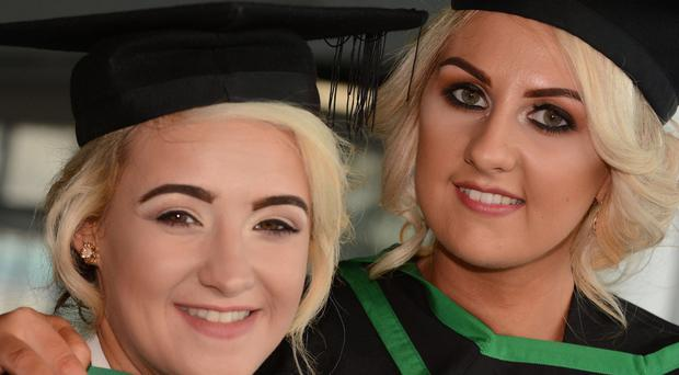 HARRISON PHOTOGRAPHY - BELFAST - 1st July 2016 Graduating from Ulster University today with a degree in Hospitality and Tourism are Catherine McManus and Lauren Donnelly