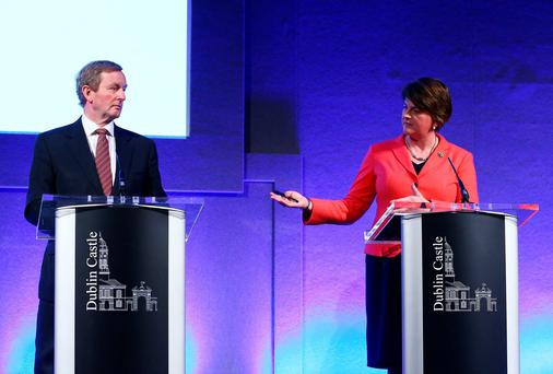 An Taoiseach Enda Kenny and Northern Ireland First Minister Arlene Foster during a press conference at the North South Ministerial Council in Dublin Castle, Dublin. PA