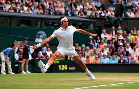 Grand master: Roger Federer looked in top form in his victory over Steve Johnson
