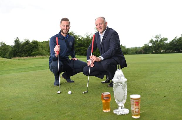 Ross Oliver, Event Manager of the NI Open, is pictured (left) with Jeff Tosh, Sales Director for Tennents NI, and the winners trophy, announcing that Tennents NI will be a Main Sponsor and driving force behind the event at Galgorm Castle GC (July 28-31). Photo by Marie Therese Hurson.