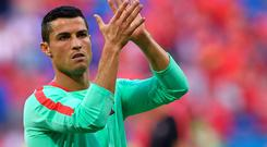 Portugal's forward Cristiano Ronaldo is pictured ahead of the Euro 2016 semi-final football match between Portugal and Wales at the Parc Olympique Lyonnais stadium in Décines-Charpieu, near Lyon, on July 6, 2016. / AFP PHOTO / Francisco LEONGFRANCISCO LEONG/AFP/Getty Images