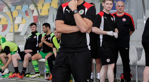 Home advantage: Cliftonville boss Gerard Lyttle watching the first leg action in Luxembourg