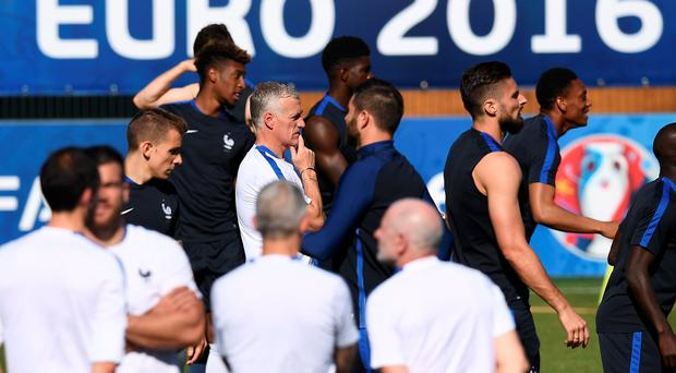 Watchful eye: Didier Deschamps takes France training ahead of the Euro 2016 semi-final clash with Germany