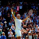 Old master: Roger Federer salutes the Wimbledon crowd after his stunning fightback to reach the semi-finals