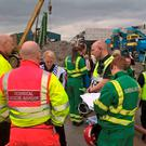 West Midlands emergency services at the scene where five men died after a wall collapsed at a recycling plant in the Nechells area of Birmingham.