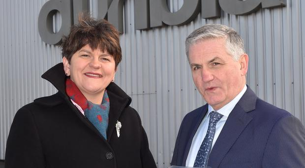 Jim Dobson, managing director of Dunbia Group, which was at number 69 in a top businesses list, with First Minister Arlene Foster