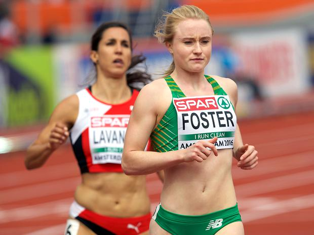 Speed queen: Amy Foster qualifying for today's 100m semis in Amsterdam