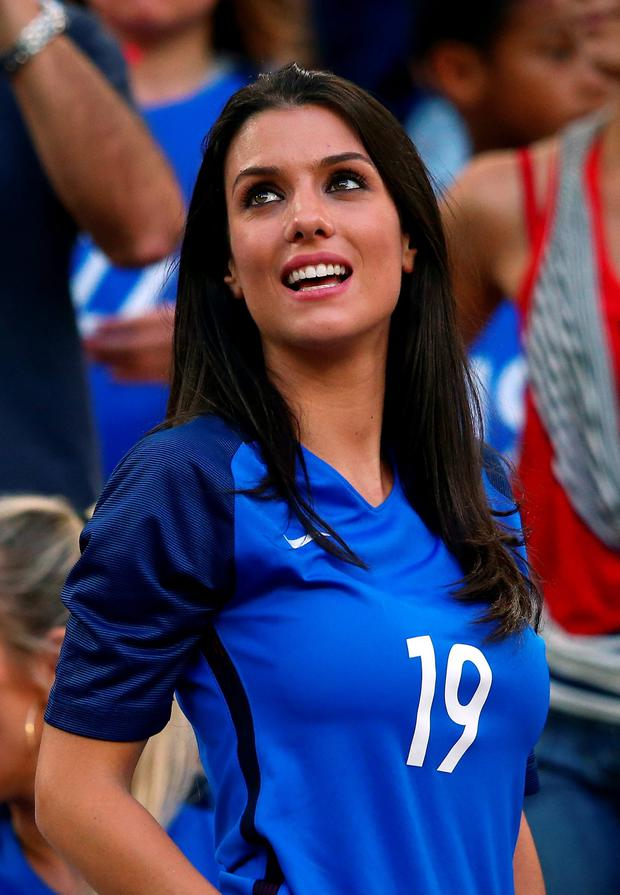MARSEILLE, FRANCE - JULY 07: Ludivine Sagna, wife of Bacary Sagna of France is seen in the stand is seen prior to the UEFA EURO semi final match between Germany and France at Stade Velodrome on July 7, 2016 in Marseille, France. (Photo by Alex Livesey/Getty Images)