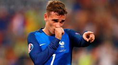 MARSEILLE, FRANCE - JULY 07: Antoine Griezmann of France celebrates scoring his team's second goal during the UEFA EURO semi final match between Germany and France at Stade Velodrome on July 7, 2016 in Marseille, France. (Photo by Alex Livesey/Getty Images)