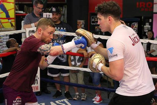 Carl Frampton and Shane McGuigan during a media workout at Gleason's Gym in NYC.
