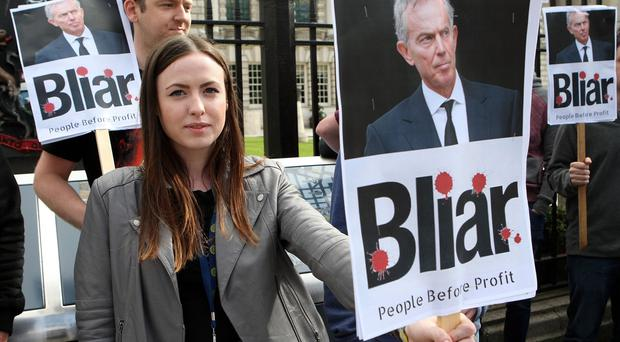 Protest against Tony Blair outside Belfast City Hall. Photo: Freddie Parkinson /Press Eye
