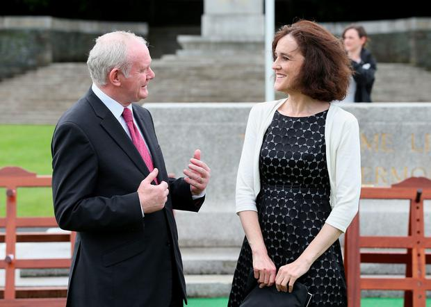 Secretary of State for Northern Ireland Theresa Villiers (right) with Northern Ireland Deputy First Minister Martin McGuinness at a ceremony to mark the Battle of the Somme Centenary at the Irish National War Memorial Gardens in Islandbridge, Dublin. PA