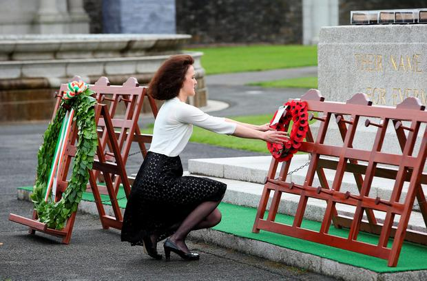 Secretary of State for Northern Ireland Theresa Villiers lays a wreath during a ceremony to mark the Battle of the Somme Centenary at the Irish National War Memorial Gardens in Islandbridge, Dublin. PA